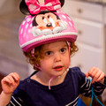 Hayley sporting her new Minnie Mouse bicycle helmet