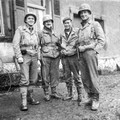 from 1.5 inch sq - Tough lookers ain't we - Dad middle right - Hambach France - taken  5 or 6-Dec-1944