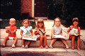 On the curb - Summer 1979 - Kendra, Elizabeth, Joanna, Courtney and Kristen