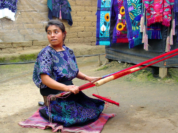 Working a hand loom - Zinacantan, Chiapas state, Mexico